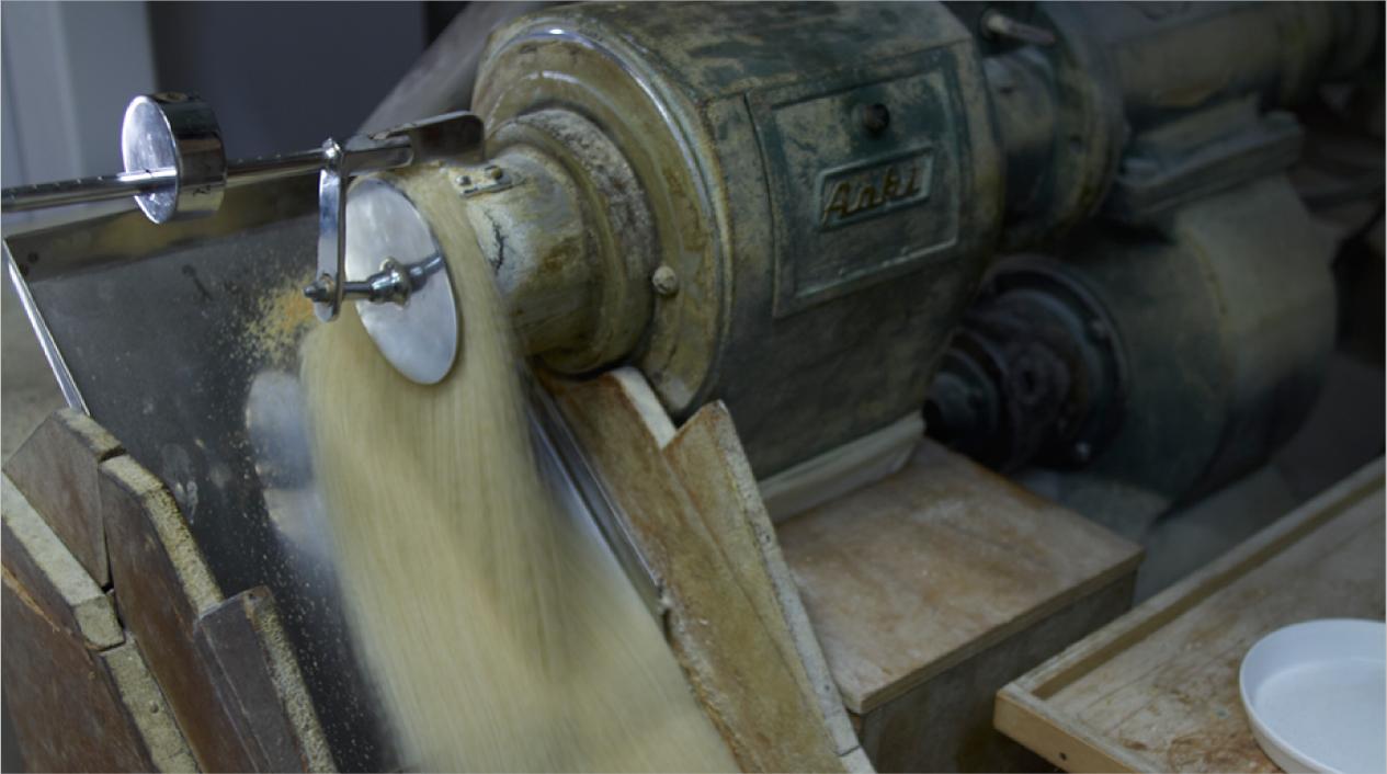 じっくり、じっくり、古式精米製法
